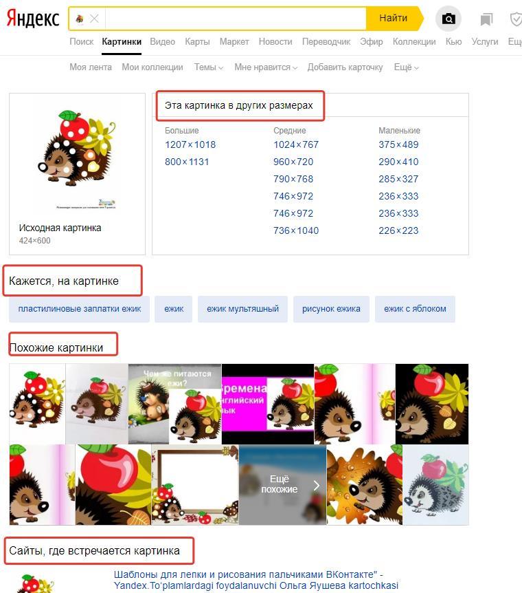 Результаты поиска по картинке в Яндексе